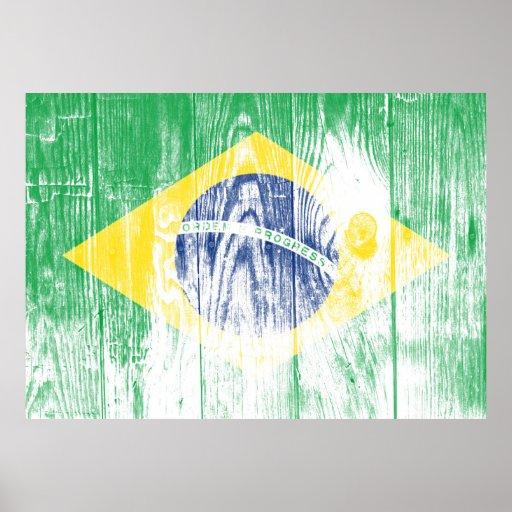 Vintage Brazil national flag White poster