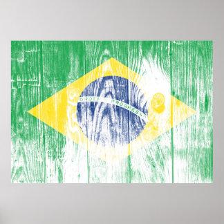 Vintage Brazil National Flag White Posters Poster