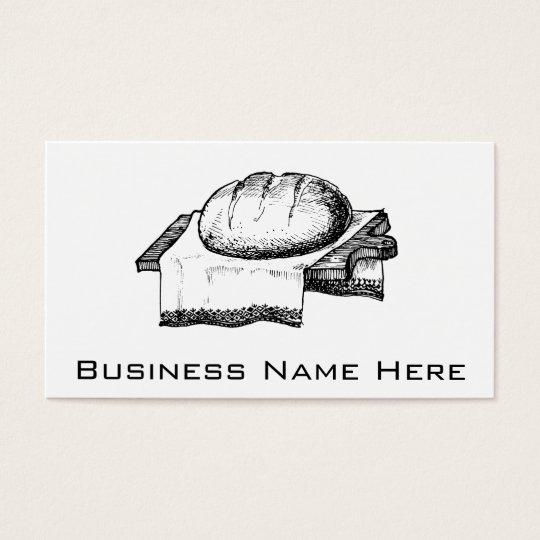 Vintage Bread Illustration, Black Line Art Business Card