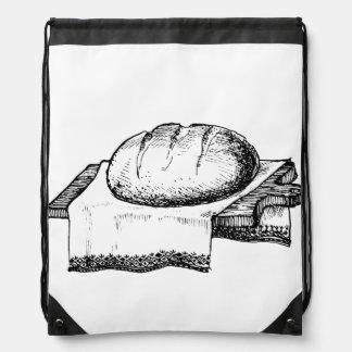 Vintage Bread Illustration, Black Line Art Drawstring Bag