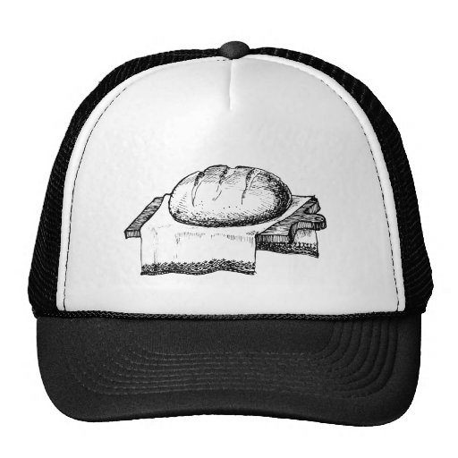 Vintage Bread Illustration, Black Line Art Hat