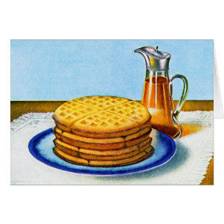 Vintage Breakfast Retro Waffles and Syrup Greeting Card