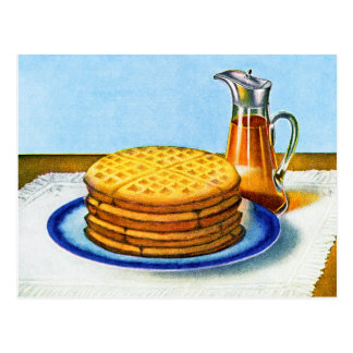 Vintage Breakfast Retro Waffles and Syrup Postcard