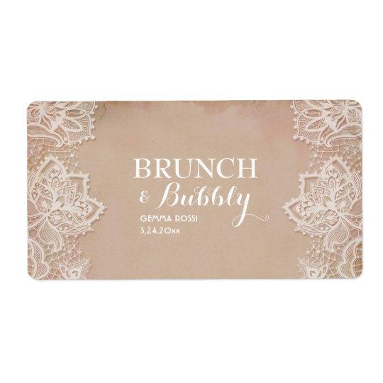 Vintage Bridal or Baby Shower Mini Champagne Label