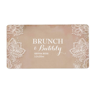 Vintage Bridal or Baby Shower Mini Champagne Label Shipping Label