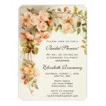 Vintage Bridal Shower Antique Roses Flowers Floral 13 Cm X 18 Cm Invitation Card