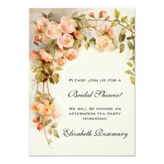 Vintage Bridal Shower Antique Roses Flowers Floral Card