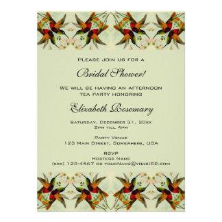 Vintage Bridal Shower, Hummingbirds Floral Flowers Announcement