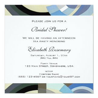 Vintage Bridal Shower, Retro Art Deco Jazz 13 Cm X 13 Cm Square Invitation Card