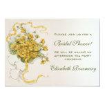 Vintage Bridal Shower Vintage Yellow Flower Floral Personalised Invitations