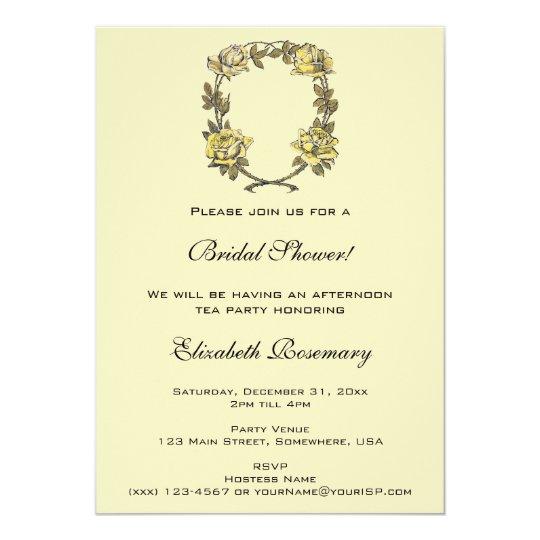Vintage Bridal Shower, Yellow Garden Rose Wreath Card