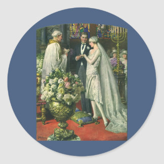 Vintage Bride and Groom, Church Wedding Ceremony Classic Round Sticker