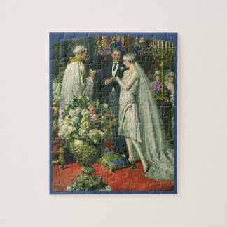 Vintage Bride and Groom, Church Wedding Ceremony Jigsaw Puzzle