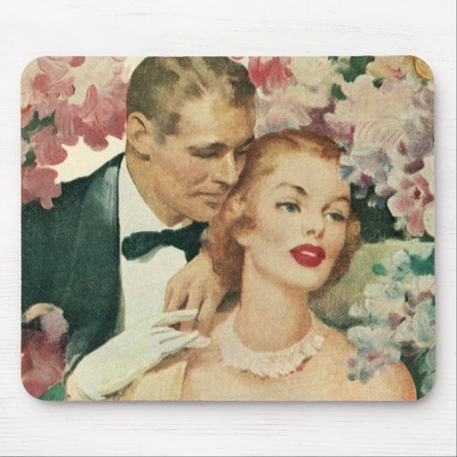 Vintage Bride and Groom Newlyweds and Flowers Mouse Pads