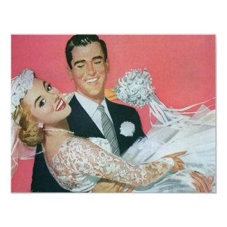 Vintage Bride Groom Newlyweds Wedding Invitation