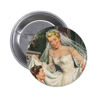 Vintage Bride with Flower Girl on Her Wedding Day 6 Cm Round Badge