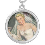 Vintage Bride with Flower Girl on Her Wedding Day Custom Necklace