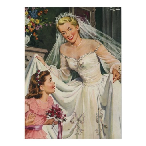 Vintage Bride with Flower Girl on Her Wedding Day Print