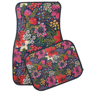 Vintage Bright Floral Pattern Fabric Car Floor Mat