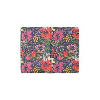 Vintage Bright Floral Pattern Fabric Pocket Moleskine Notebook
