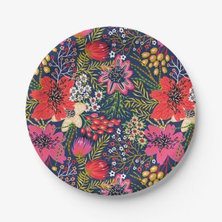 Vintage Bright Floral Pattern Paper Plate 7 Inch Paper Plate