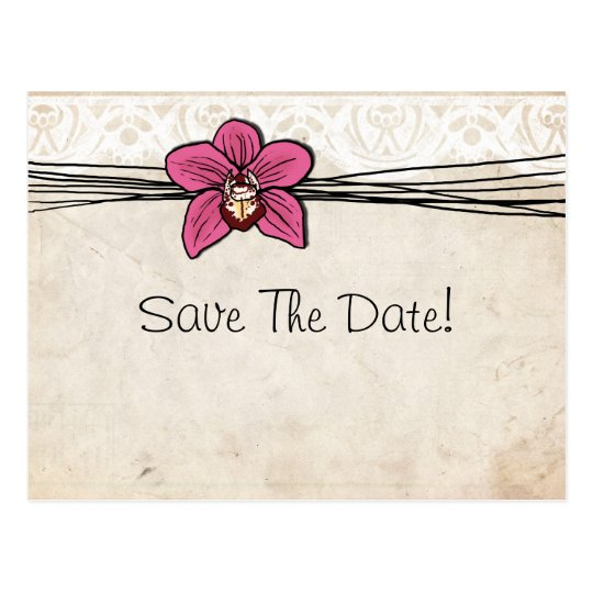 Vintage Bright Pink Orchid Save The Date Postcard