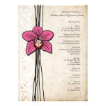Vintage Bright Pink Orchid Wedding Program Personalized Announcement