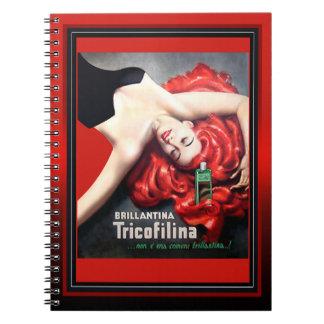 Vintage Brillantina Tricofilina Redhead Spiral Note Book