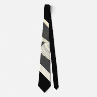 Vintage British Museum Saturn Print Striped Tie