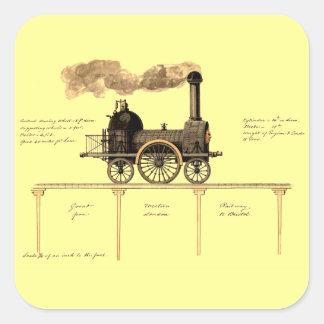 Vintage British Steam Engine Square Sticker