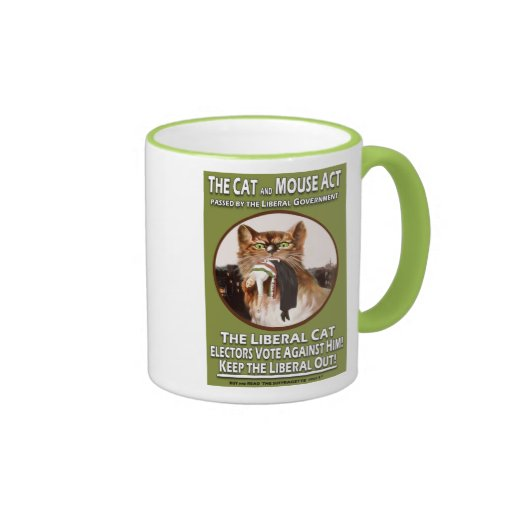 Vintage British Suffragette Cat and Mouse Act Coffee Mug