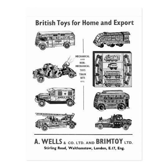 Vintage British Toy Vehicles Postcard