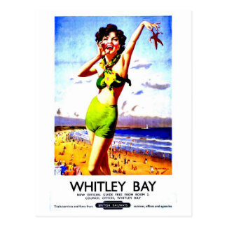 Vintage British travel advert Whitley Bay Postcard