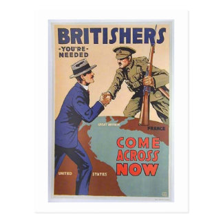 Vintage Britishers You're Needed Come Across Now Postcard