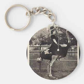Vintage Broadway Actress Riding an Ostrich Key Chains