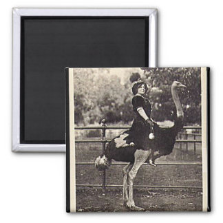 Vintage Broadway Actress Riding an Ostrich Magnet