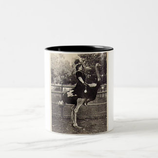 Vintage Broadway Actress Riding an Ostrich Two-Tone Coffee Mug