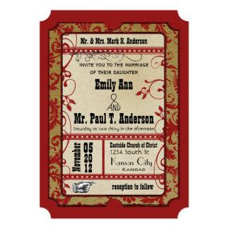 Vintage Broadway Poster Movie Ticket Wedding 13 Cm X 18 Cm Invitation Card