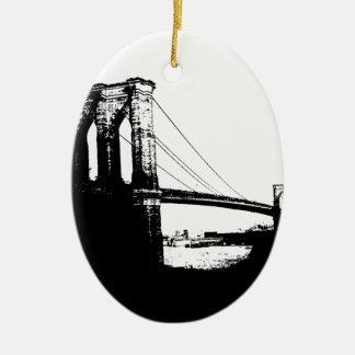 Vintage Brooklyn Bridge Ceramic Oval Decoration