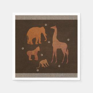 Vintage Brown African Safari Jungle Zoo Animals Paper Napkin