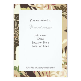 Vintage brown and beige flowers and birds Invite