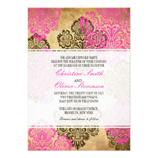 Vintage Brown and Pink Damask Wedding Invitation