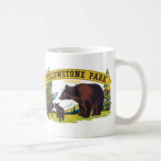 Vintage Brown Bears in Yellowstone National Park Basic White Mug