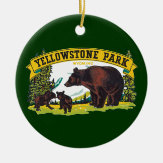 Vintage Brown Bears in Yellowstone National Park Round Ceramic Decoration