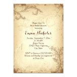 Vintage brown beige scroll leaf bridal shower 13 cm x 18 cm invitation card
