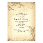 Vintage brown beige scroll leaf rehearsal dinner 13 cm x 18 cm invitation card
