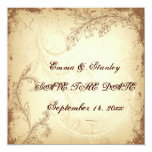 Vintage brown beige scroll leaf Save the Date Personalised Announcement