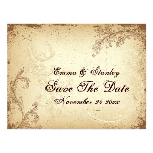 Vintage brown beige scroll leaf Save the Date Post Card