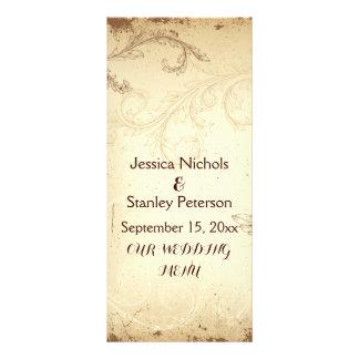 Vintage brown, beige scroll leaf wedding menu card rack card design