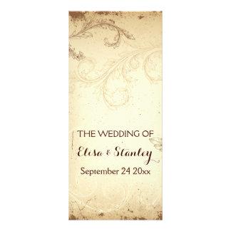 Vintage brown, beige scroll leaf wedding program customized rack card